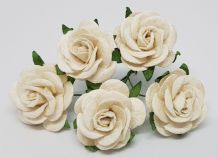 OFF WHITE ROSES (2.5 cm) Mulberry Paper Roses (Previously known as 3.0 cm)